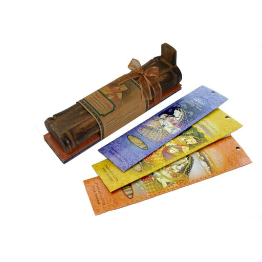 Incense Gift Set - Bamboo Burner + 3 Meditation Incense Sticks Packs & Greeting - May Love, Light, Peace - Urban Treehouse