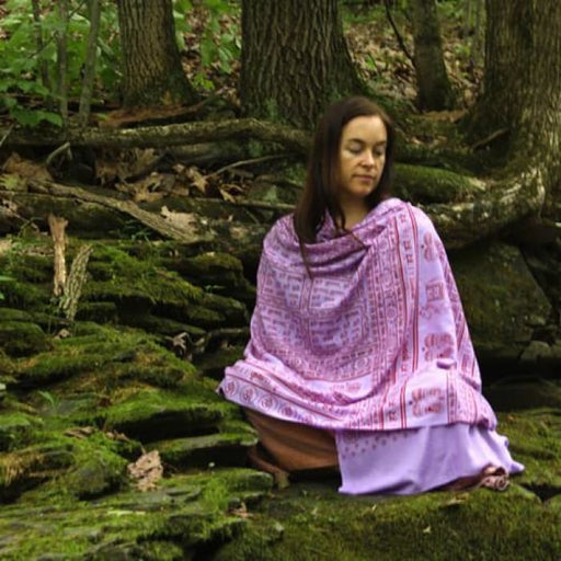 Meditation Yoga Prayer Shawl - Maha Mantra - Purple Large - Urban Treehouse