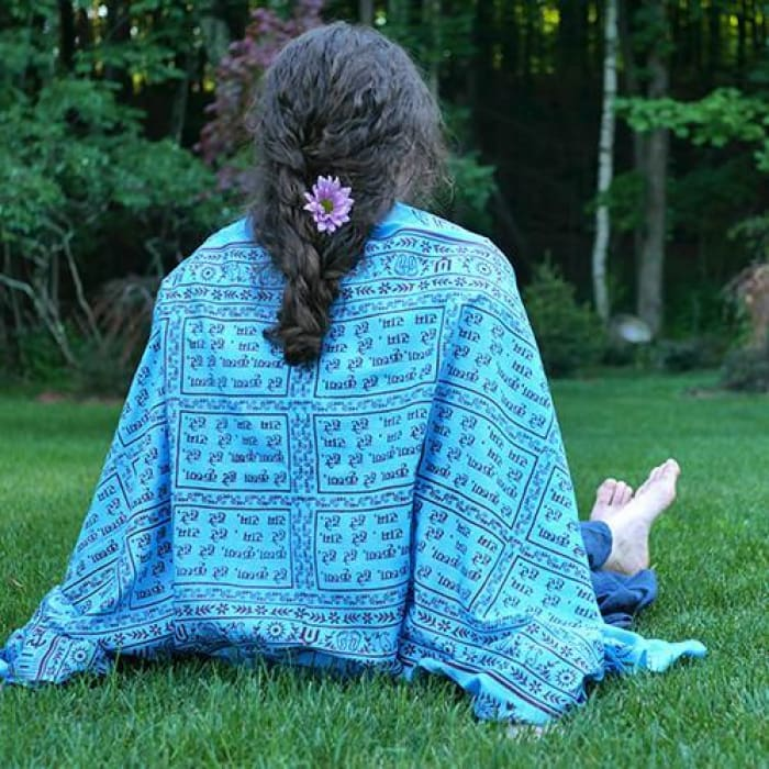 Meditation Yoga Prayer Shawl - Maha Mantra - Turquoise Large - Shawl