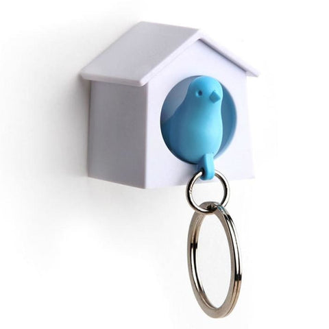 Mini Sparrow Key Ring Holder (White/blue) - Home Décor
