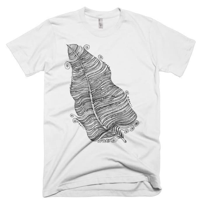 Short Sleeve Mens T-Shirt Feather - White / Xs - Apparel & Accessories