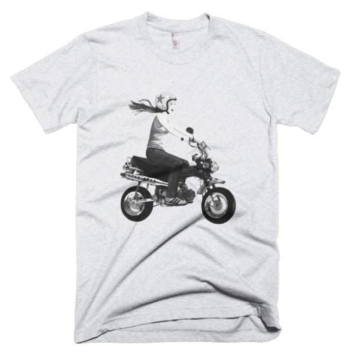 Short Sleeve Mens T-Shirt Girl On Bike - Ash Grey / Xs - Apparel & Accessories