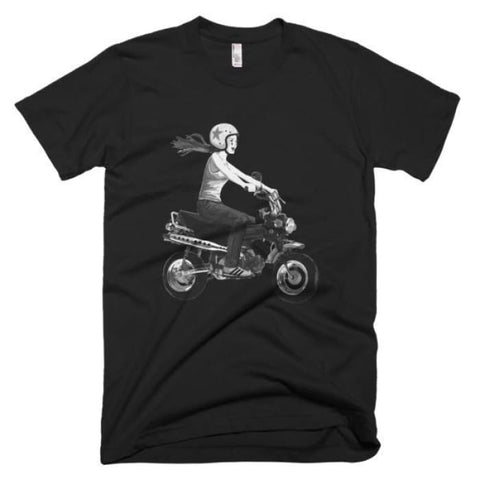 Short sleeve men's t-shirt girl on bike