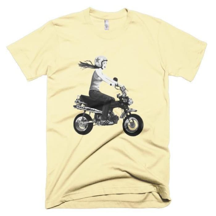 Short Sleeve Mens T-Shirt Girl On Bike - Butter / Xs - Apparel & Accessories