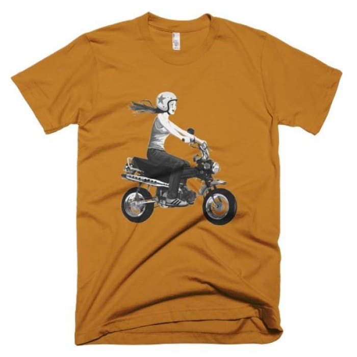 Short Sleeve Mens T-Shirt Girl On Bike - Camel / Xs - Apparel & Accessories