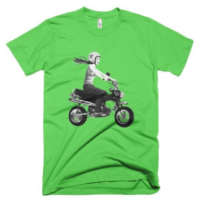 Short Sleeve Mens T-Shirt Girl On Bike - Grass / Xs - Apparel & Accessories