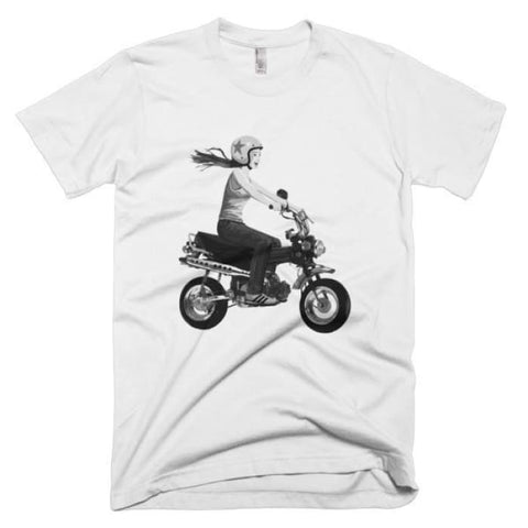Short Sleeve Mens T-Shirt Girl On Bike - White / Xs - Apparel & Accessories