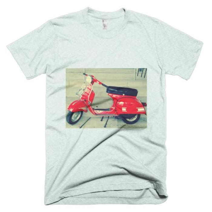 Short Sleeve Mens T-Shirt Vespa - Ash Grey Sea Foam / Xs - Apparel & Accessories
