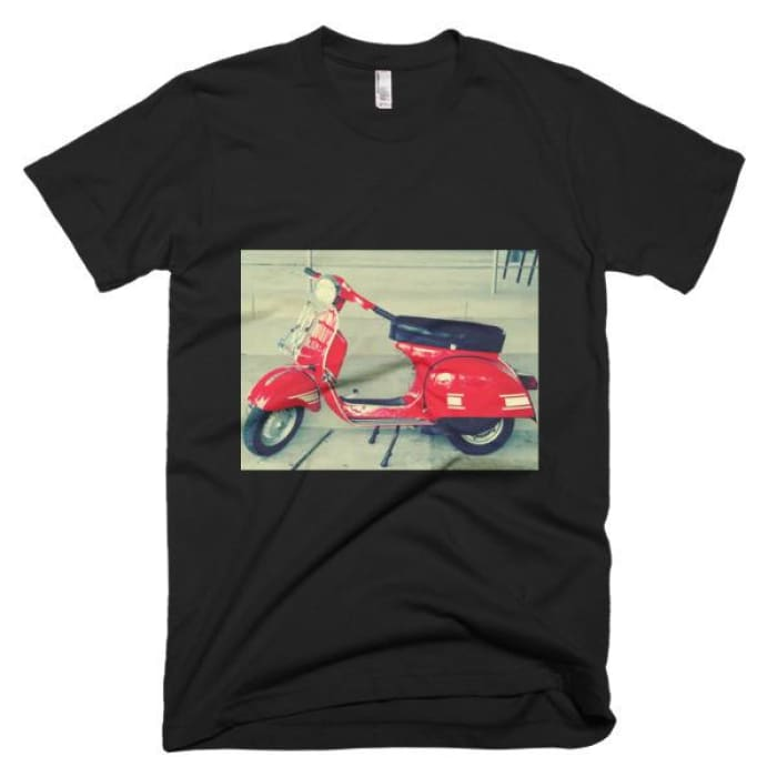 Short Sleeve Mens T-Shirt Vespa - Black / Xs - Apparel & Accessories