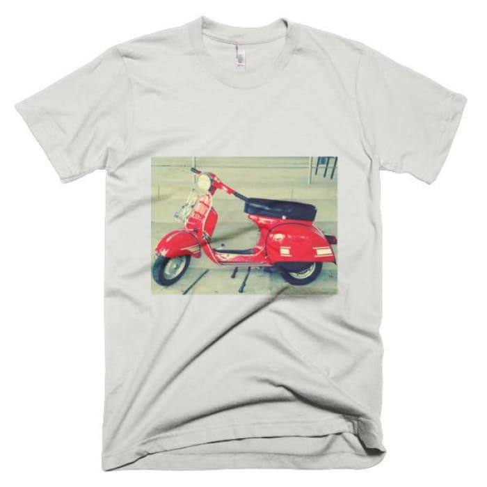 Short Sleeve Mens T-Shirt Vespa - New Silver / Xs - Apparel & Accessories