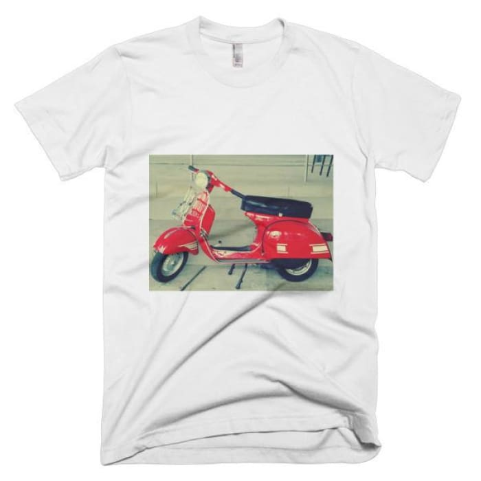 Short Sleeve Mens T-Shirt Vespa - White / Xs - Apparel & Accessories