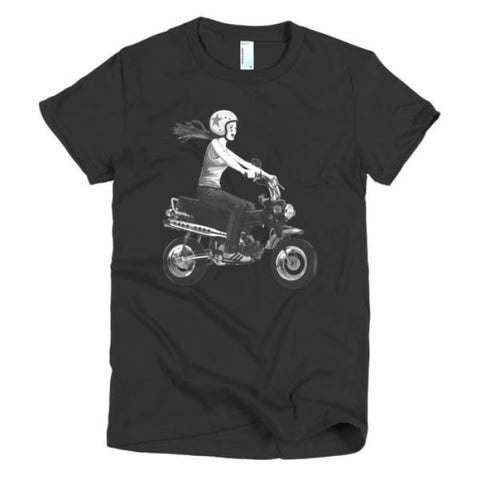 Short sleeve women's t-shirt girl on bike