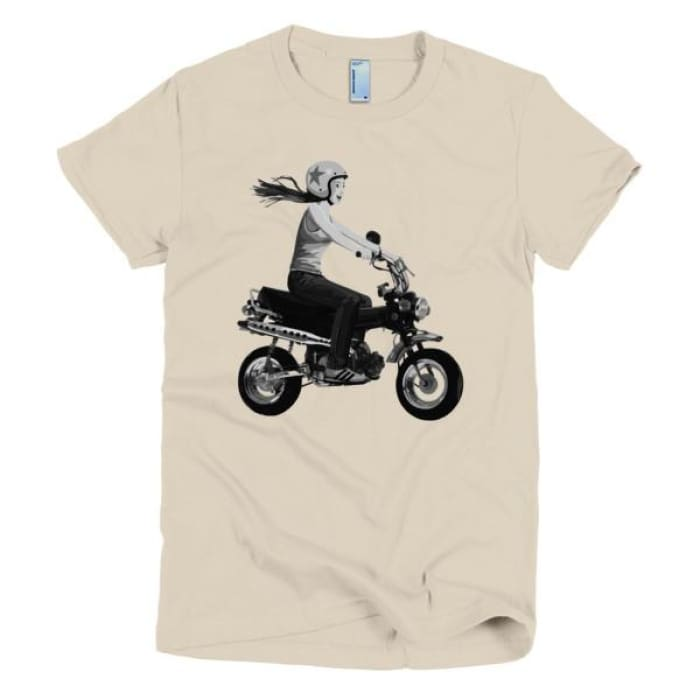 Short Sleeve Womens T-Shirt Girl On Bike - Creme / S - Apparel & Accessories