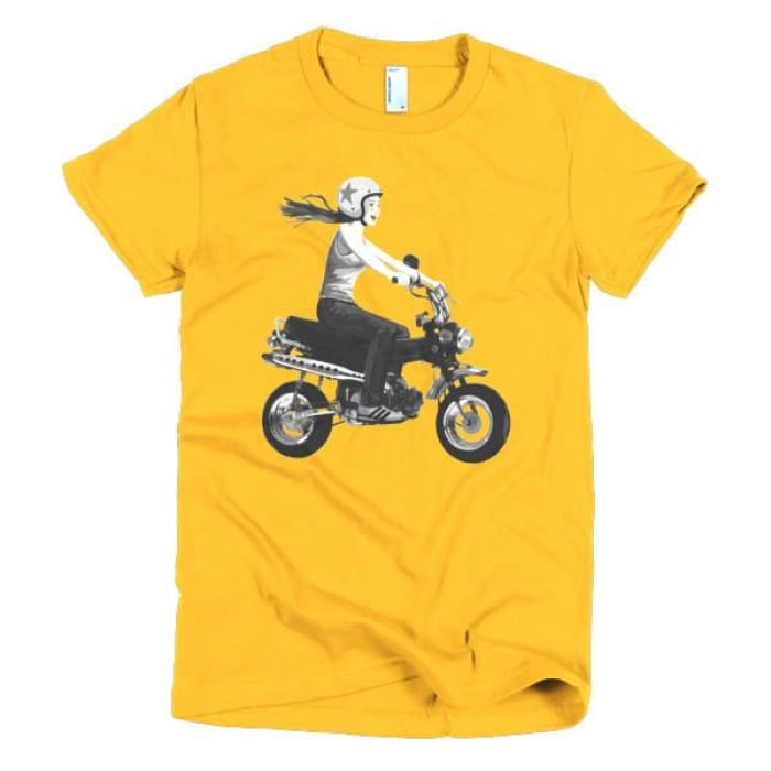 Short Sleeve Womens T-Shirt Girl On Bike - Gold / S - Apparel & Accessories