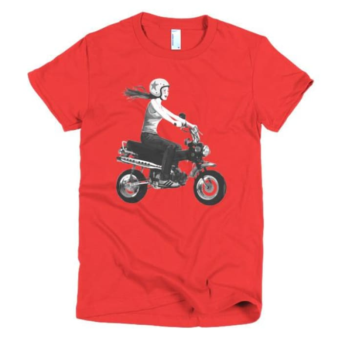 Short Sleeve Womens T-Shirt Girl On Bike - Red / S - Apparel & Accessories