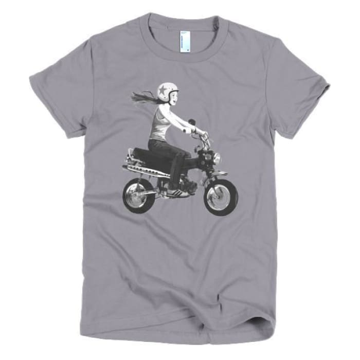 Short Sleeve Womens T-Shirt Girl On Bike - Slate / S - Apparel & Accessories