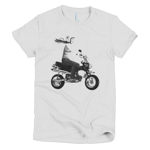 Short Sleeve Womens T-Shirt Girl On Bike - White / S - Apparel & Accessories