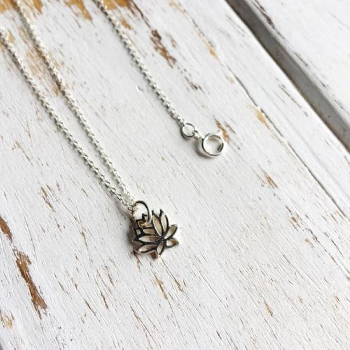 Sterling Silver Outlined Lotus Charm Necklace ~ - Apparel & Accessories