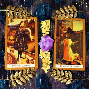 tarot cards golden leaves crystals elements