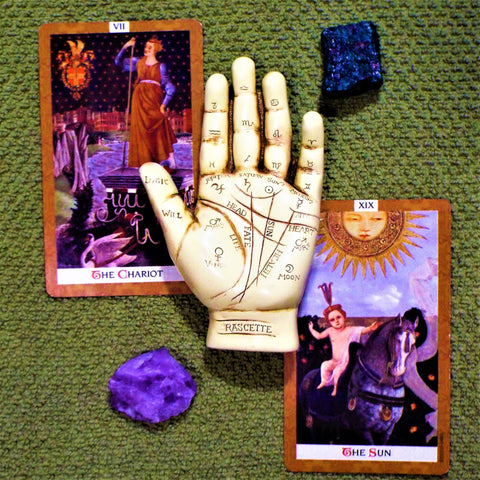 palm reader tarot cards crystals