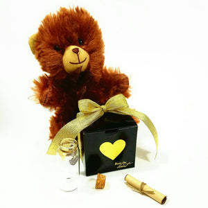 "Teddy Bear Message in a Bottle Personalized Keepsake ""Red Red Rose"" - L&G Gifts and Goodies"
