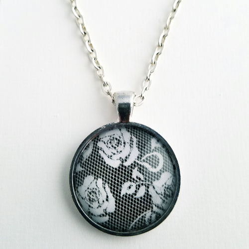 Black and White Lace and Flowers Necklace - L&G Gifts and Goodies