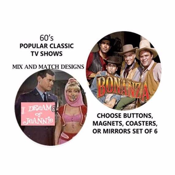 Classic TV Sitcoms From the 60's, Set of 6 Buttons, Coasters, Magnets, or Mirrors - L&G Gifts and Goodies