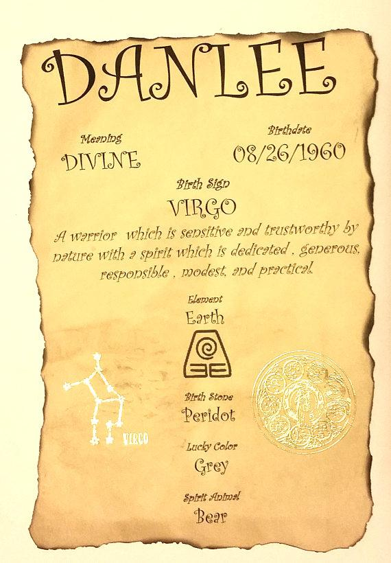 Personalized Birthday Zodiac Astrology Custom Birth Biography Certificate,  Birth Month Sign Name Meaning Keepsake Gift