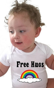 Rainbow Free Hugs Baby Bodysuit or Toddler tees - L&G Gifts and Goodies