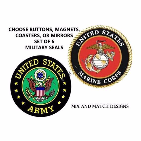 Military Set of 6 Pin Buttons, Coasters, Magnets, or Mirrors - L&G Gifts and Goodies