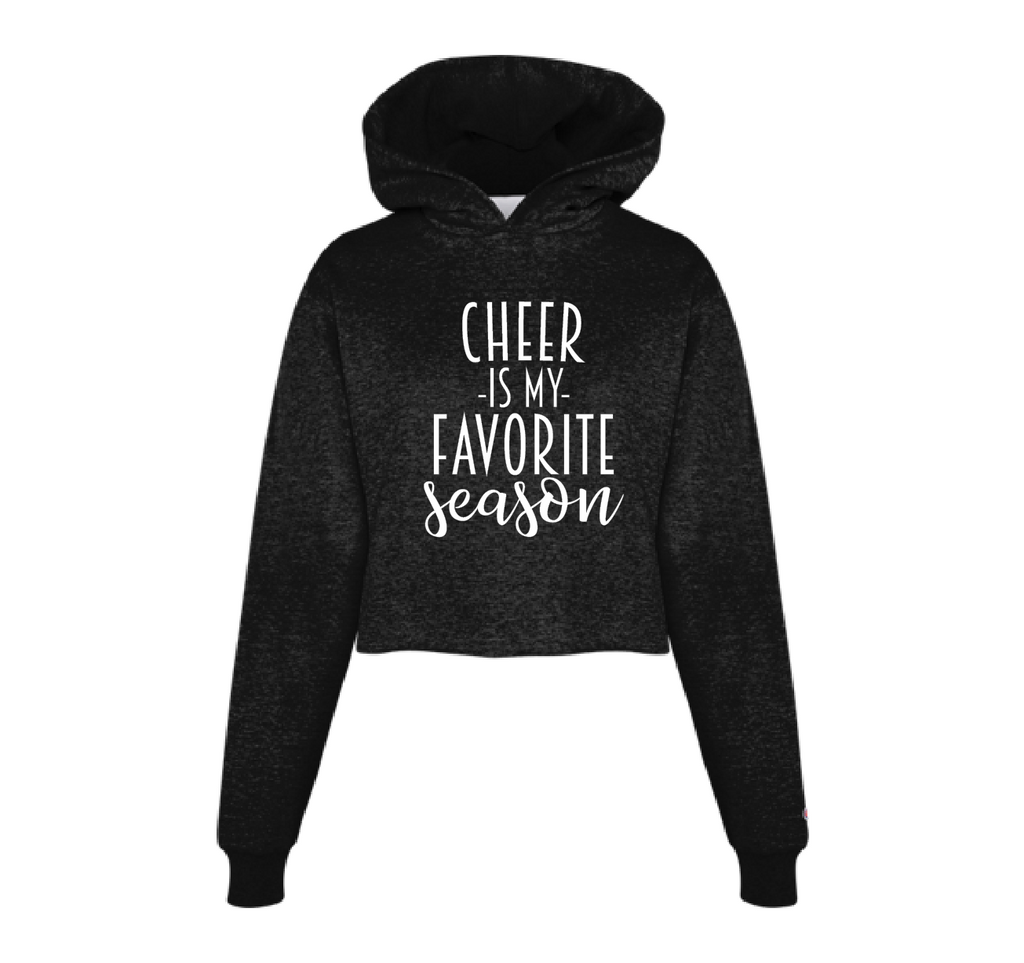 cheer is my favorite season black cropped hoodie