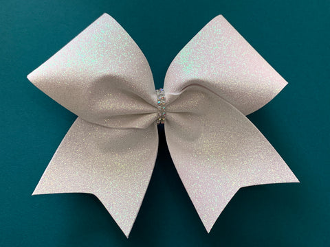 White Glitter Cheer Bow