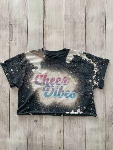 Cheer Vibes Bleached Cropped Tee