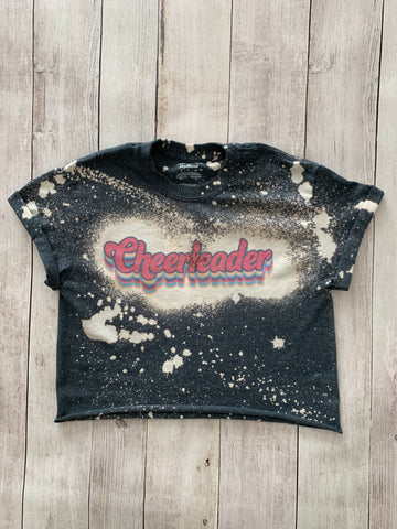 Retro Cheerleader Crop Bleached Tee