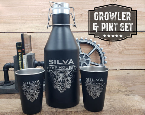 Personalized growler and pint set