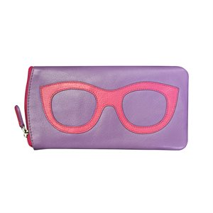 *See the Light* Leather Eye Glass Case - Hot Pink & Amethyst