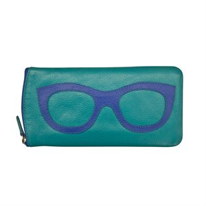 *See the Light* Leather Eye Glass Case - Aqua & Cobalt
