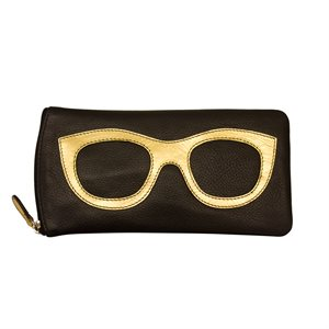 *See the Light* Leather Eye Glass Case - Black & Gold