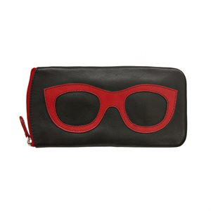 *See the Light* Leather Eye Glass Case - Black & Red