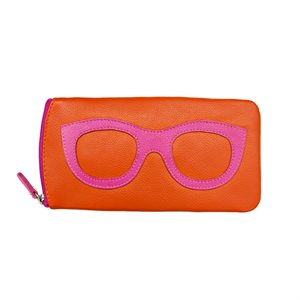 *See the Light* Leather Eye Glass Case - Orange & Hot Pink