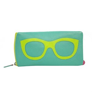 *See the Light* Leather Eye Glass Case - Turquoise & Leaf