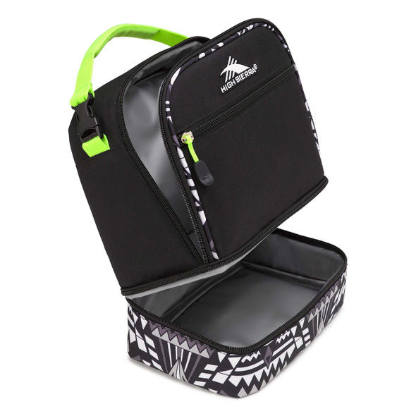 Lunch Packs Stacked Compartment Black Geo Weave Zest