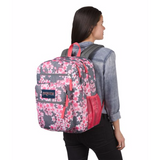 Big Student Backpack Diamond Plumeria Pink