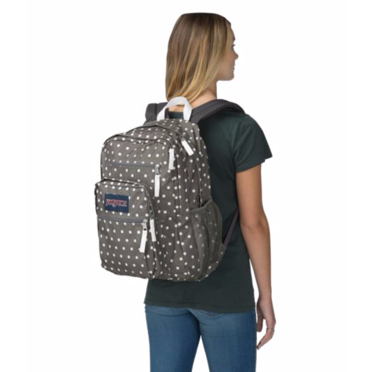 Big Student Backpack Shady Grey White Dots