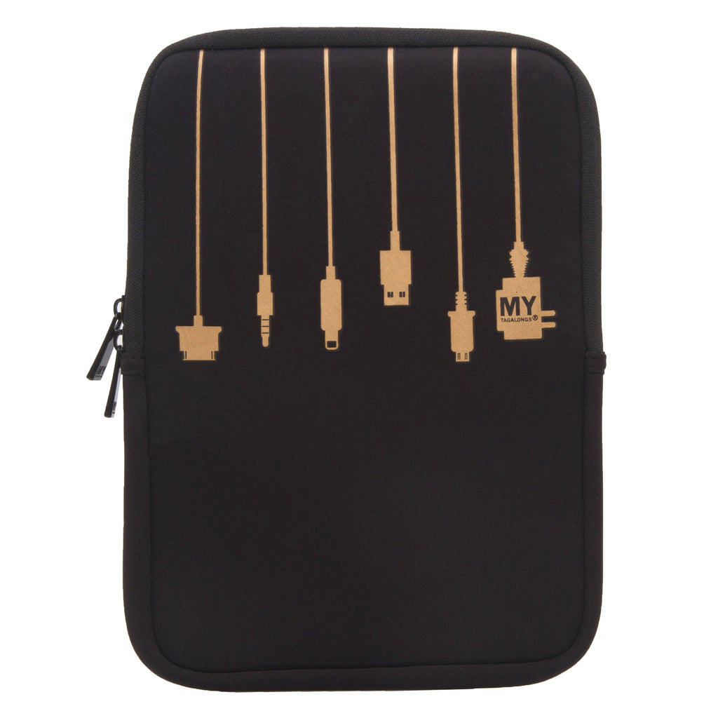 2 IN 1 TABLET SLEEVE AND STAND - PLUG IN BLACK and GOLD (MED)