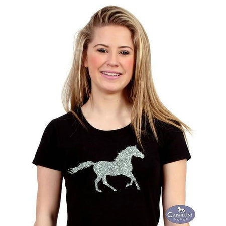 Glitter Horse T-Shirt - black-Capaillíní Equestrian Collection