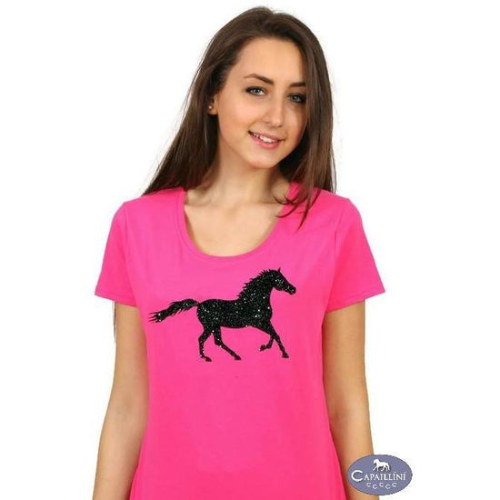 Glitter Horse T-Shirt - pink-Capaillíní Equestrian Collection