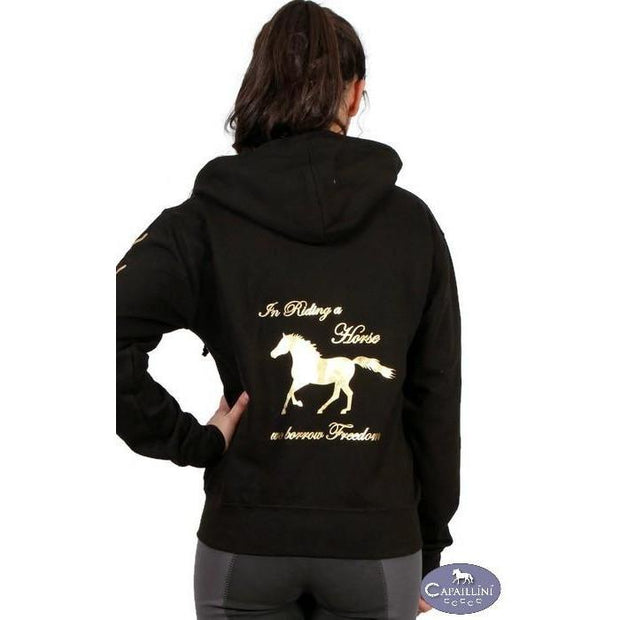 In Riding a Horse we borrow Freedom - Zip Hoodie-Capaillíní Equestrian Collection