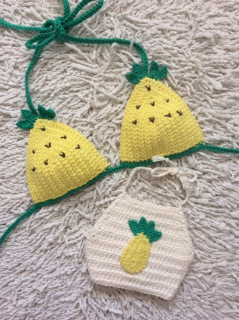 baby pineapple bikini/crop top