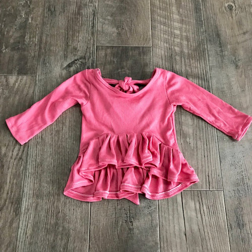 dark pink thermal knit peplum top